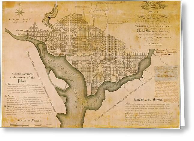 Plan For Washington D.c. Greeting Card by American Philosophical Society