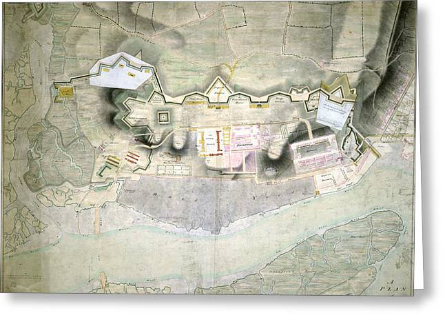 Plan Of Chatham Lines Greeting Card by British Library