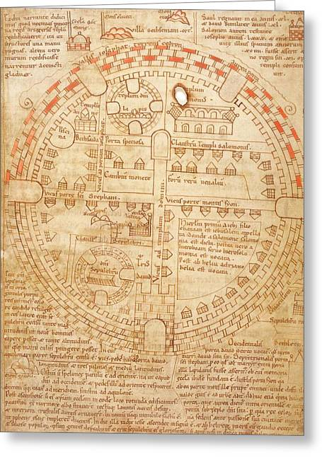 Plan Of Jerusalem Greeting Card by British Library