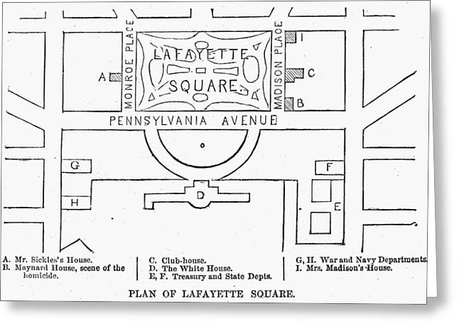 Plan Of Lafayette Square Greeting Card by Granger