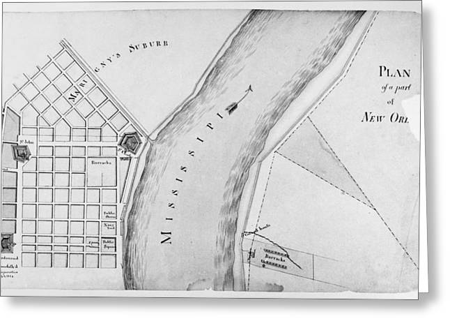 New Orleans Collection Greeting Cards - Plan Of New Orleans, 1814 Greeting Card by Granger