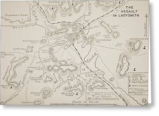 South Drawings Greeting Cards - Plan of the Assault on Ladysmith Greeting Card by English School
