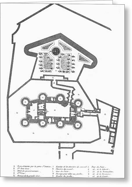 Plan Of The Bastille Greeting Card by Granger