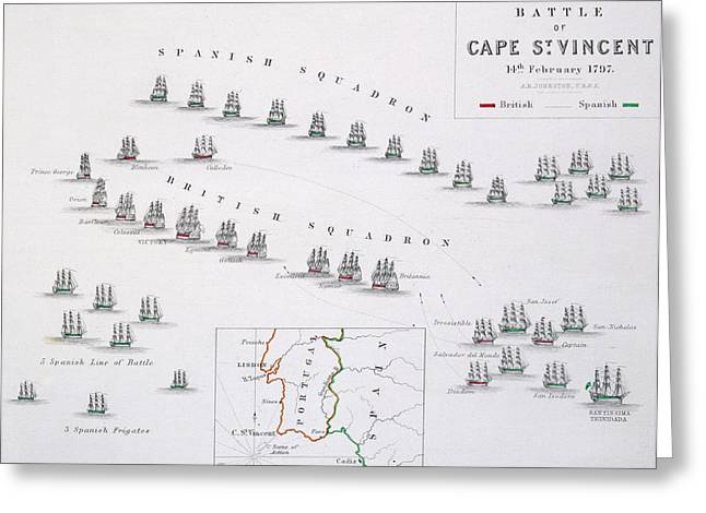 Atlas Print Greeting Cards - Plan of the Battle of Cape St. Vincent Greeting Card by Alexander Keith Johnston