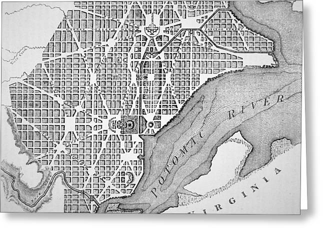Atlas Greeting Cards - Plan of the City of Washington as originally laid out in 1793 Greeting Card by American School