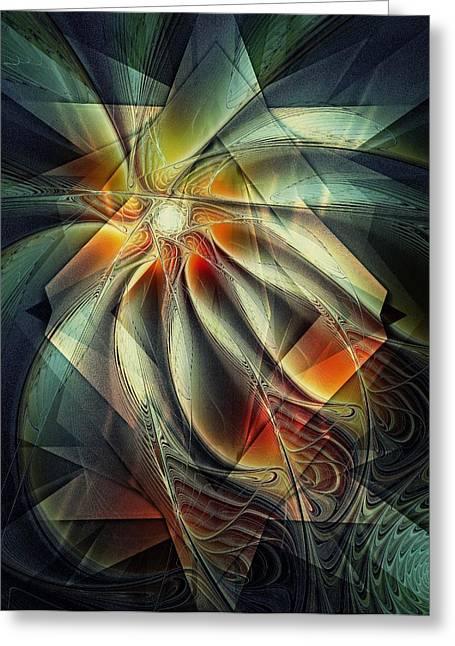 Floral Digital Art Digital Art Greeting Cards - Planar Greeting Card by Amanda Moore