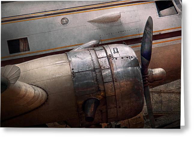 Antique Photographs Greeting Cards - Plane - A little rough around the edges Greeting Card by Mike Savad