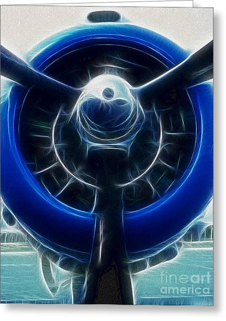 Propeller Greeting Cards - Plane Blue Prop Greeting Card by Paul Ward
