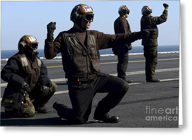 F-18 Greeting Cards - Plane Captains Signal For The Start Greeting Card by Stocktrek Images