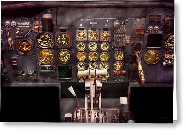 Personalized Greeting Cards - Plane - Cockpit - Boeing 727 - The controls are set Greeting Card by Mike Savad