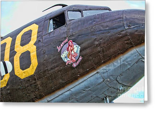 Vintage Nose Art Greeting Cards - Plane-Douglas C-47B Sky Train Greeting Card by Paul Ward