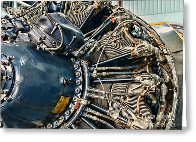 Black Widow Photographs Greeting Cards - Plane Engine Close Up Greeting Card by Paul Ward