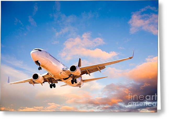 737 Greeting Cards - Plane Flying in Sunset Sky Greeting Card by Colin and Linda McKie
