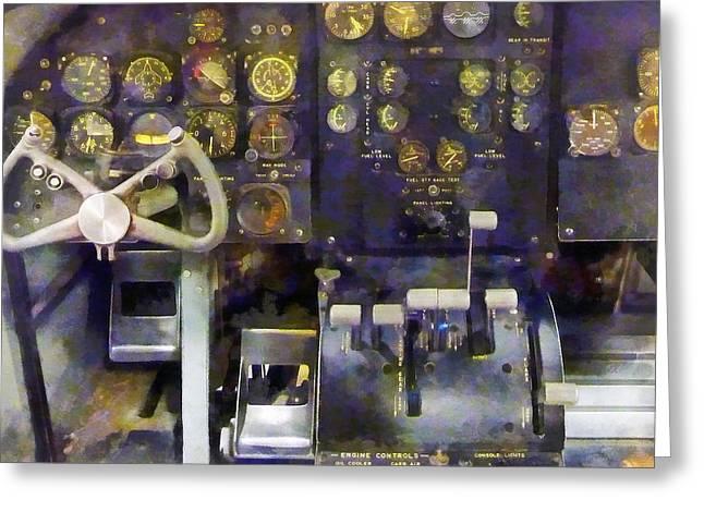 Steampunk Greeting Cards - Plane - Grumman E-1B Cockpit Simulator Greeting Card by Susan Savad
