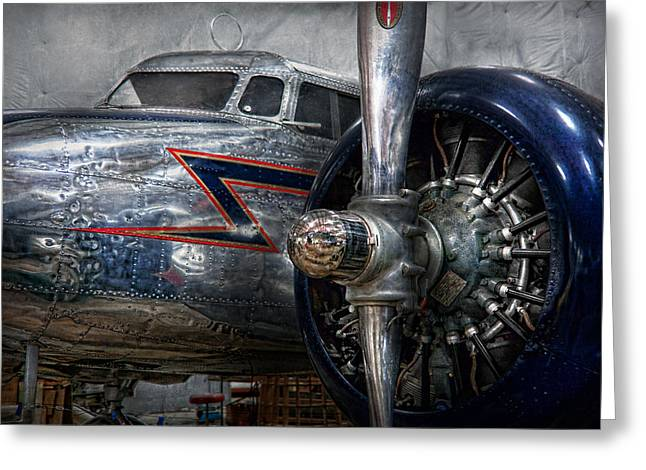 Suburbanscenes Greeting Cards - Plane - Hey fly boy  Greeting Card by Mike Savad