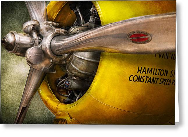 Mech Greeting Cards - Plane - Pilot - Prop - Twin Wasp Greeting Card by Mike Savad
