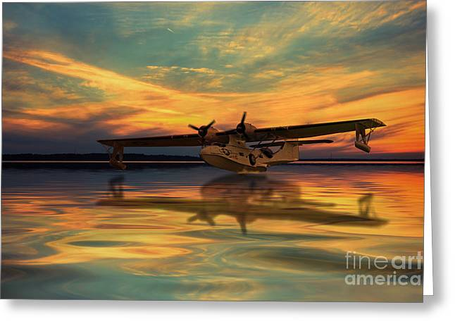 Aviation Print Greeting Cards - Plane Sailing  Greeting Card by J Biggadike