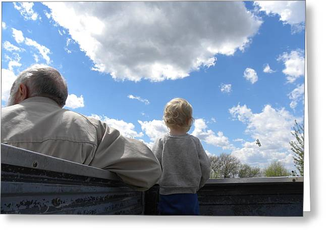 Absorb Digital Art Greeting Cards - Plane Viewing from the Truck Bed Greeting Card by Sheri Lauren Schmidt