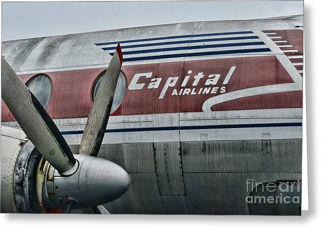 Passenger Planes Greeting Cards - Plane Vintage Capital Airlines Greeting Card by Paul Ward