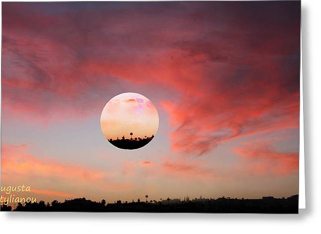 Planet and Sunset Greeting Card by Augusta Stylianou