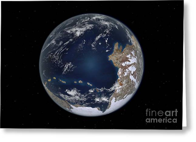 Merging Greeting Cards - Planet Earth 600 Million Years Ago Greeting Card by Walter Myers