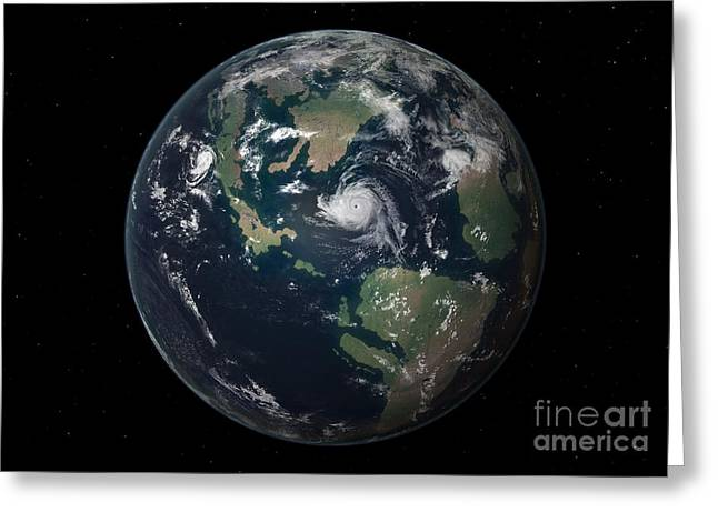 Pangea Greeting Cards - Planet Earth 90 Million Years Ago Greeting Card by Walter Myers