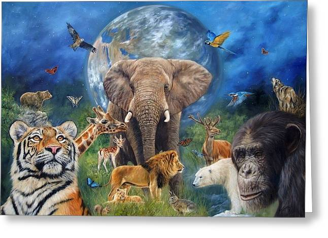 Planet Paintings Greeting Cards - Planet Earth Greeting Card by David Stribbling
