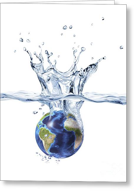 Clean Water Digital Art Greeting Cards - Planet Earth Falling Into Clear Water Greeting Card by Leonello Calvetti
