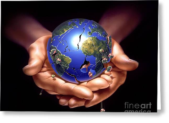 Human Tragedy Greeting Cards - Planet Earth On Human Hands, Breaking Greeting Card by Leonello Calvetti