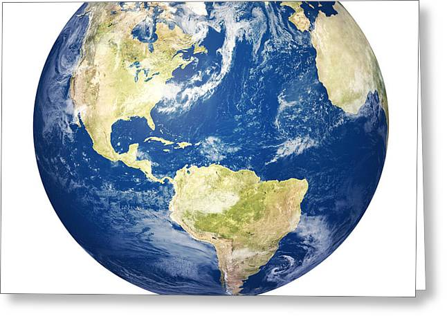Spheres Greeting Cards - Planet earth on white - America Greeting Card by Johan Swanepoel