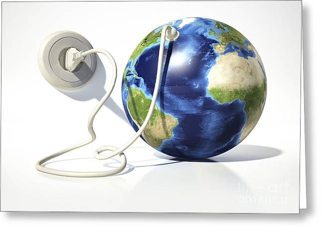 America The Continent Greeting Cards - Planet Earth With Electric Cable, Plug Greeting Card by Leonello Calvetti