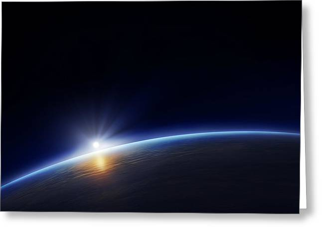 Atmosphere Greeting Cards - Planet earth with rising sun Greeting Card by Johan Swanepoel