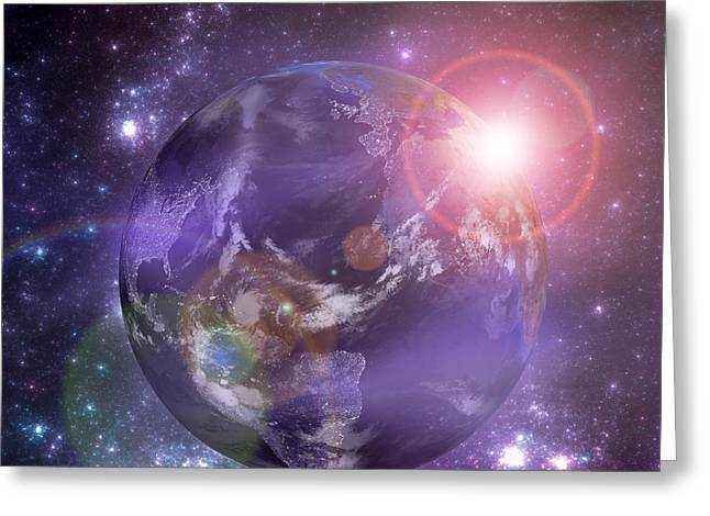 Planet Map Greeting Cards - Planet Earth with the rising sun Greeting Card by Martin Capek