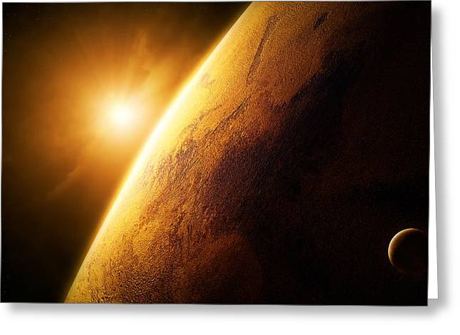 Flares Greeting Cards - Planet Mars close-up with sunrise Greeting Card by Johan Swanepoel