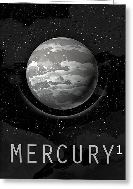Storm Prints Digital Art Greeting Cards - Planet Mercury Greeting Card by David Cowan