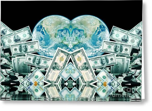 Planet Money Greeting Cards - Planet Money Greeting Card by Dariush Alipanah- Jahroudi