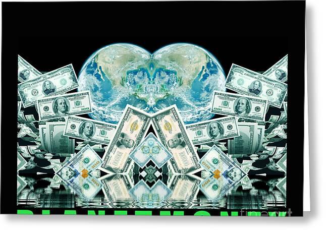 Planet Money Greeting Cards - Planet Money- Poster 2 Greeting Card by Dariush Alipanah- Jahroudi