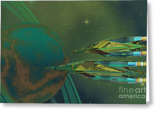 Jet Star Greeting Cards - Planet of Origin Greeting Card by Corey Ford