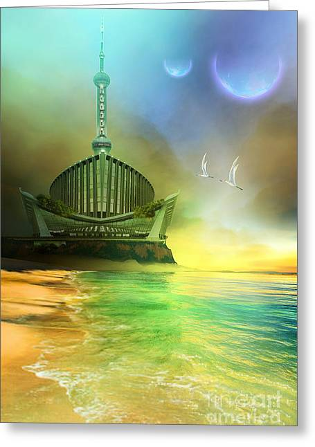 Moon Beach Digital Art Greeting Cards - Planet Paladin Greeting Card by Corey Ford