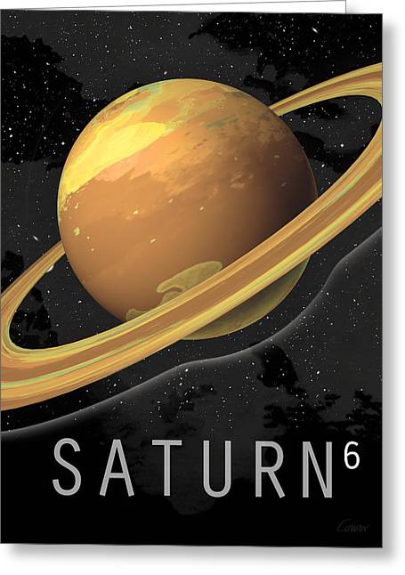 Storm Prints Digital Art Greeting Cards - Planet Saturn Greeting Card by David Cowan