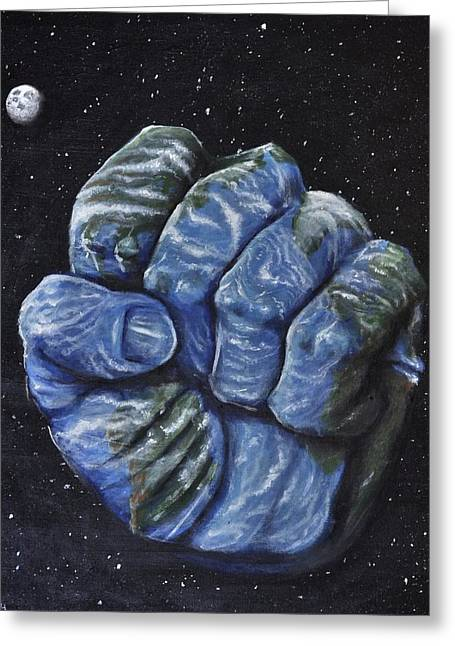 Intergalactic Space Greeting Cards - Planetary Clench Greeting Card by Luke Horowitz