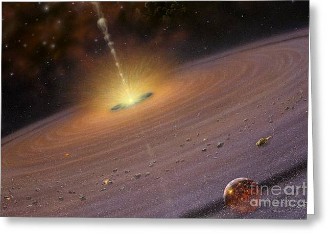 Planetary System Paintings Greeting Cards - Planetary Disk II v2 Greeting Card by Lynette Cook