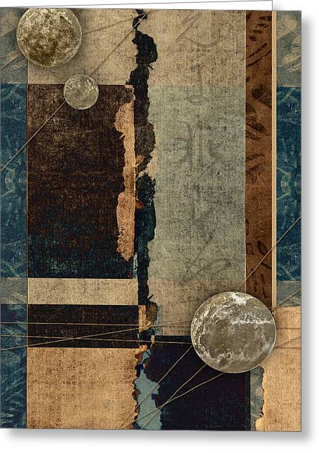 Sepia Mixed Media Greeting Cards - Planetary Shift #1 Greeting Card by Carol Leigh
