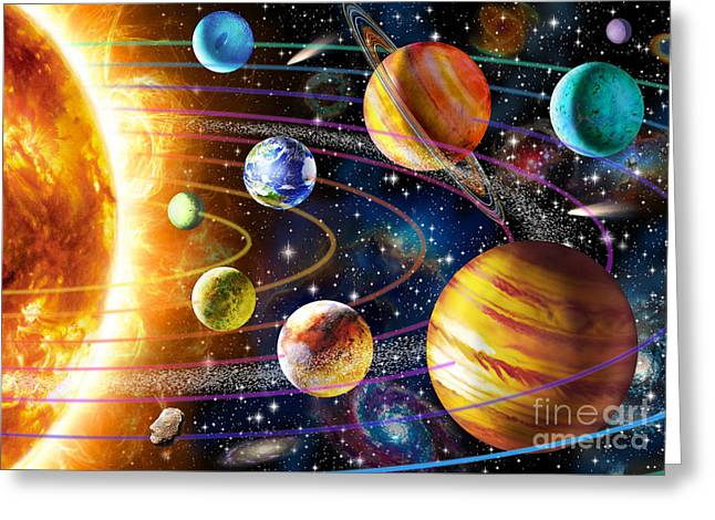Planet Greeting Cards - Planetary System Greeting Card by Adrian Chesterman
