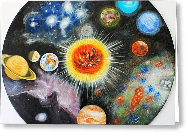 Nebula Paintings Greeting Cards - Planets and nebulae in a day Greeting Card by Augusta Stylianou