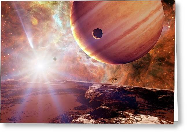 Planets In Ngc 2440 Planetary Nebula Greeting Card by Detlev Van Ravenswaay
