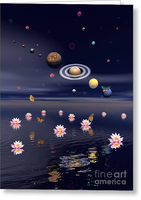 Exoticism Greeting Cards - Planets Of The Solar System Surrounded Greeting Card by Elena Duvernay