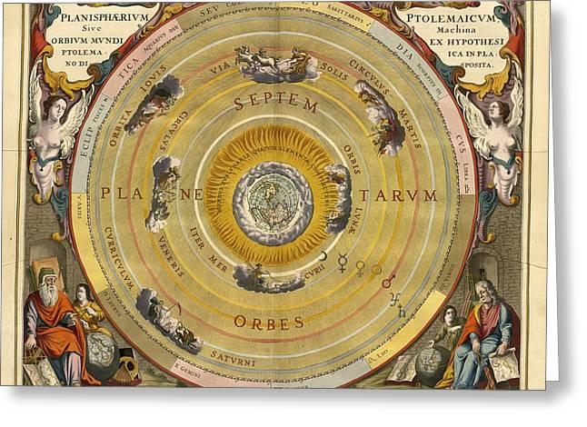 Planet Map Paintings Greeting Cards - Planisphaerium Ptolemaicum siue machina orbium mundi Greeting Card by Vintage Printery