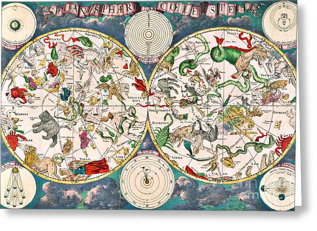 Coelestis Greeting Cards - Planisphere Coeleste Star Map 1680 Greeting Card by Science Source