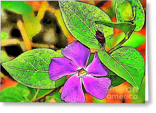 Vince Mixed Media Greeting Cards - Plant - Flower - Vinca Greeting Card by Donna E Pickelsimer